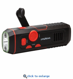 LifeGear Stormproof Crank Radio Flashlight with USB Quick Charge