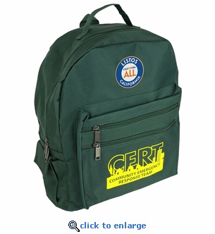 LISTOS California For All CERT Backpack - Green with CERT Logo & Embroidered LISTOS Patch
