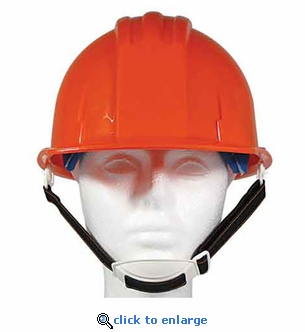 Orange ANSI Hardhat with 4-Point Ratchet Suspension - Includes Chin Strap