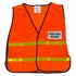 Orange Mesh Safety Vest with Reflective Trim with Clear Name Tag Insert Pockets Front and Back