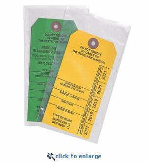 Pack of 25 Standard Tag Cover, 6 1/2