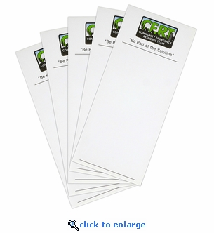 Pack of 5 CERT Note Pads with Logo - 25 Sheets Each - 3.75