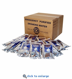 SOS Water with Food Bars Minimum Case Combo - SOS Emergency Drinking Water Pouches 4.225 oz. Case of 96