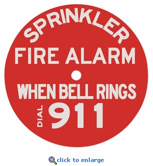 Sprinkler Alarm Sign - Plastic  - 7