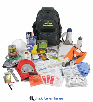 Team Leader Floor Warden Emergency Rescue Kit for Office or School - Rolling Backpack