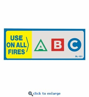 USE ON ALL FIRES - ABC Fire Classification Label - 4 1/2