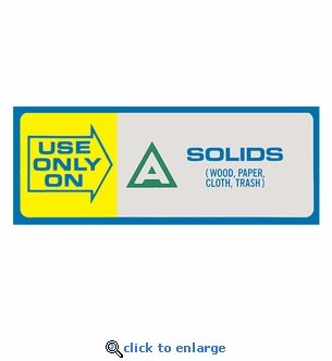 Use Only On - A - Fire Classification Label - 4 1/2