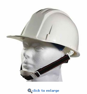 White ANSI Hardhat with 4-Point Ratchet Suspension - Includes Chin Strap