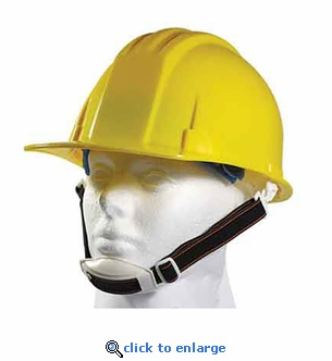 Yellow ANSI Hardhat with 4-Point Ratchet Suspension - Includes Chin Strap