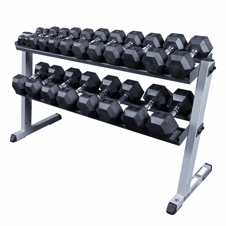 Body Solid 5-50lb Rubber Encased Dumbbell Set W/Rack