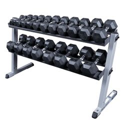 Body Solid 5-50lb Rubber Encased Dumbbell Set W/Rack $1,189.00