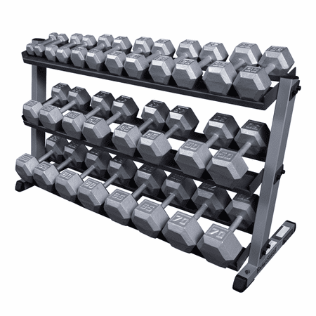 Body Solid Hex Dumbbells 5-70lb Set W/3 Tier Rack