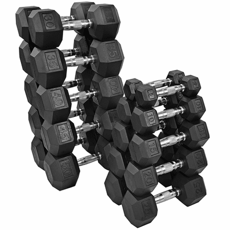 Tag Rubber Coated Hex Dumbbells  5-50lb Set
