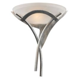 001-TS ELK Lighting Aurora 1-Light Sconce in Tarnished Silver with White Faux-Alabaster Glass