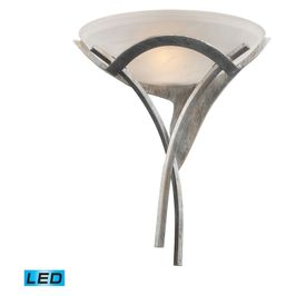 001-TS-LED ELK Lighting Aurora 1-Light Sconce in Tarnished Silver with White Faux-Alabaster Glass - Includes LED Bulb