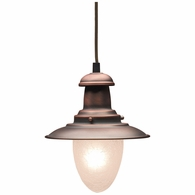 010-AC ELK Lighting Farmhouse 1-Light Mini Pendant in Antique Copper with Matching Shade