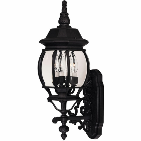 07093-BLK Savoy House Exterior Collections Wall Mount Lantern with Black Finish