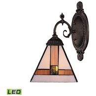 071-TB-01-LED ELK Lighting Mix-N-Match 1-Light Wall Lamp in Tiffany Bronze with Tiffany Style Glass - Includes LED Bulb