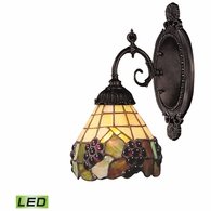 071-TB-07-LED ELK Lighting Mix-N-Match 1-Light Wall Lamp in Tiffany Bronze with Tiffany Style Glass - Includes LED Bulb