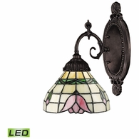 071-TB-09-LED ELK Lighting Mix-N-Match 1-Light Wall Lamp in Tiffany Bronze with Tiffany Style Glass - Includes LED Bulb