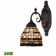 071-TB-10-LED ELK Lighting Mix-N-Match 1-Light Wall Lamp in Tiffany Bronze with Tiffany Style Glass - Includes LED Bulb