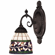 071-TB-13 ELK Lighting Mix-N-Match 1-Light Wall Lamp in Tiffany Bronze with Tiffany Style Glass