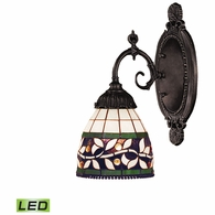 071-TB-13-LED ELK Lighting Mix-N-Match 1-Light Wall Lamp in Tiffany Bronze with Tiffany Style Glass - Includes LED Bulb