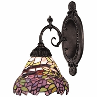 071-TB-28 ELK Lighting Mix-N-Match 1-Light Wall Lamp in Tiffany Bronze with Tiffany Style Glass