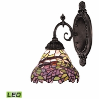 071-TB-28-LED ELK Lighting Mix-N-Match 1-Light Wall Lamp in Tiffany Bronze with Tiffany Style Glass - Includes LED Bulb