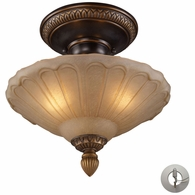08092-AGB-LA ELK Lighting Restoration 3-Light Semi Flush in Golden Bronze with Amber Glass - Includes Adapter Kit