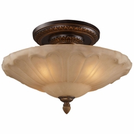 08093-AGB ELK Lighting Restoration 4-Light Semi Flush in Golden Bronze with Amber Glass
