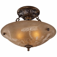 08096-AGB ELK Lighting Restoration 3-Light Semi Flush in Golden Bronze with Amber Glass