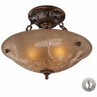 08096-AGB-LA ELK Lighting Restoration 3-Light Semi Flush in Golden Bronze with Amber Glass - Includes Adapter Kit