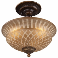 08097-AGB ELK Lighting Restoration 3-Light Semi Flush in Golden Bronze with Amber Glass