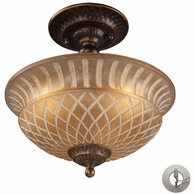 08097-AGB-LA ELK Lighting Restoration 3-Light Semi Flush in Golden Bronze with Amber Glass - Includes Adapter Kit