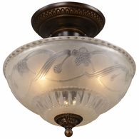 08098-AGB ELK Lighting Restoration 3-Light Semi Flush in Golden Bronze with Off-white Glass