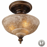 08100-AGB-LA ELK Lighting Restoration 3-Light Semi Flush in Golden Bronze with Amber Glass - Includes Adapter Kit