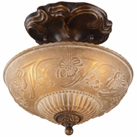 08103-AGB ELK Lighting Restoration 3-Light Semi Flush in Golden Bronze with Amber Glass