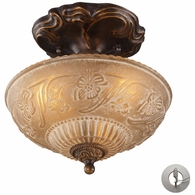 08103-AGB-LA ELK Lighting Restoration 3-Light Semi Flush in Golden Bronze with Amber Glass - Includes Adapter Kit