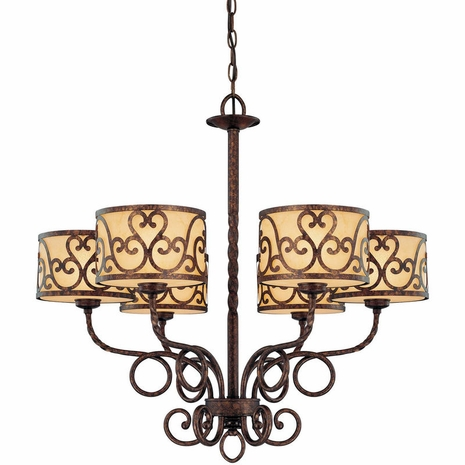 1-011-6-56 Savoy House Karyl Pierce Paxton San Simeon 6 Light Chandelier with New Tortoise Shell Finish