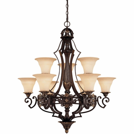 1-0151-9-76 Savoy House Southerby 9 Light Chandelier with Florencian Bronze Finish