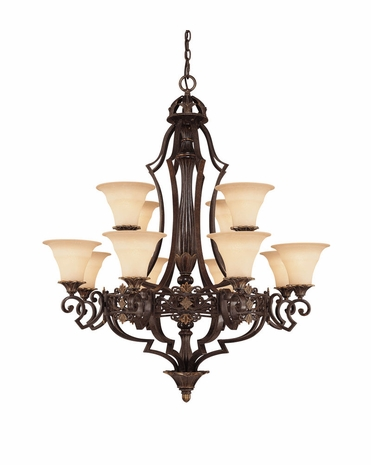 1-0152-12-76 Savoy House Lighting 12 Light Chandelier, part of the Southerby Family in Florencian Bronze Finish