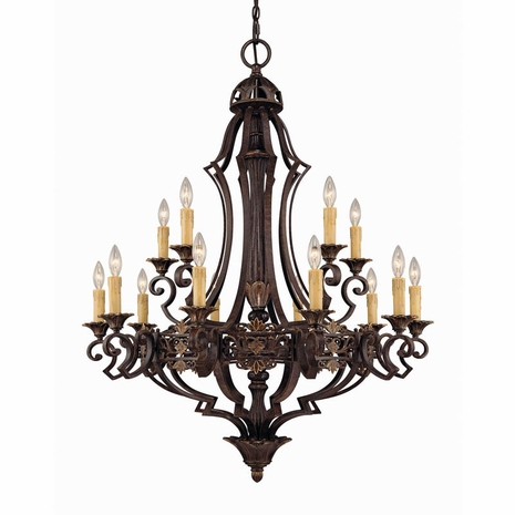 1-0153-15-76 Savoy House Southerby 15 Light Chandelier with Florencian Bronze Finish