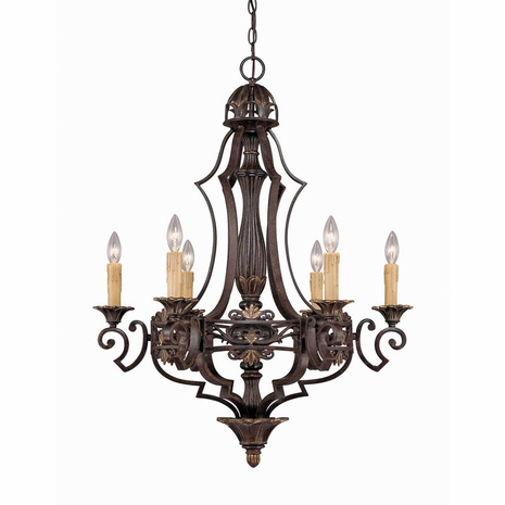 1-0161-6-76 Savoy House Southerby 6 Light Chandelier with Florencian Bronze Finish