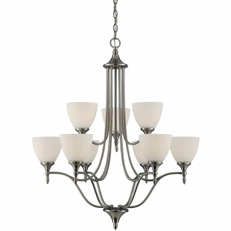1-1002-9-SN Savoy House Transitional Herndon 9 Light Chandelier in Satin Nickel
