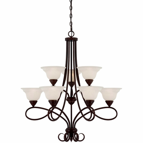 1-121-9-13 Savoy House Traditional Oxford 9 Light Chandelier with English Bronze Finish
