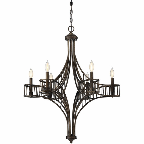 1-166-6-131 Savoy House Transitional Licton 6 Light Chandelier with Guilded Bronze Finish