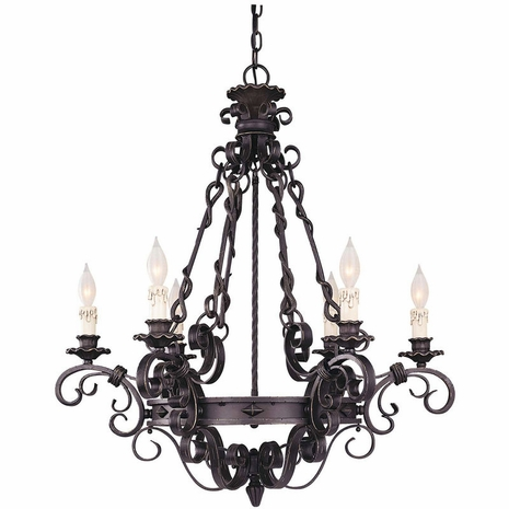 1-4314-6-17 Savoy House Bourges 6 Light Chandelier with Forged Black Finish
