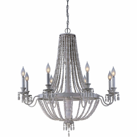 1-5091-8-82 Savoy House Transitional Geneva 8 Light Chandelier with Porcellan Finish