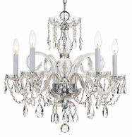 1005-CH-CL-S Crystorama Traditional Crystal 5 Light Swarovski Strass Crystal Chrome Chandelier